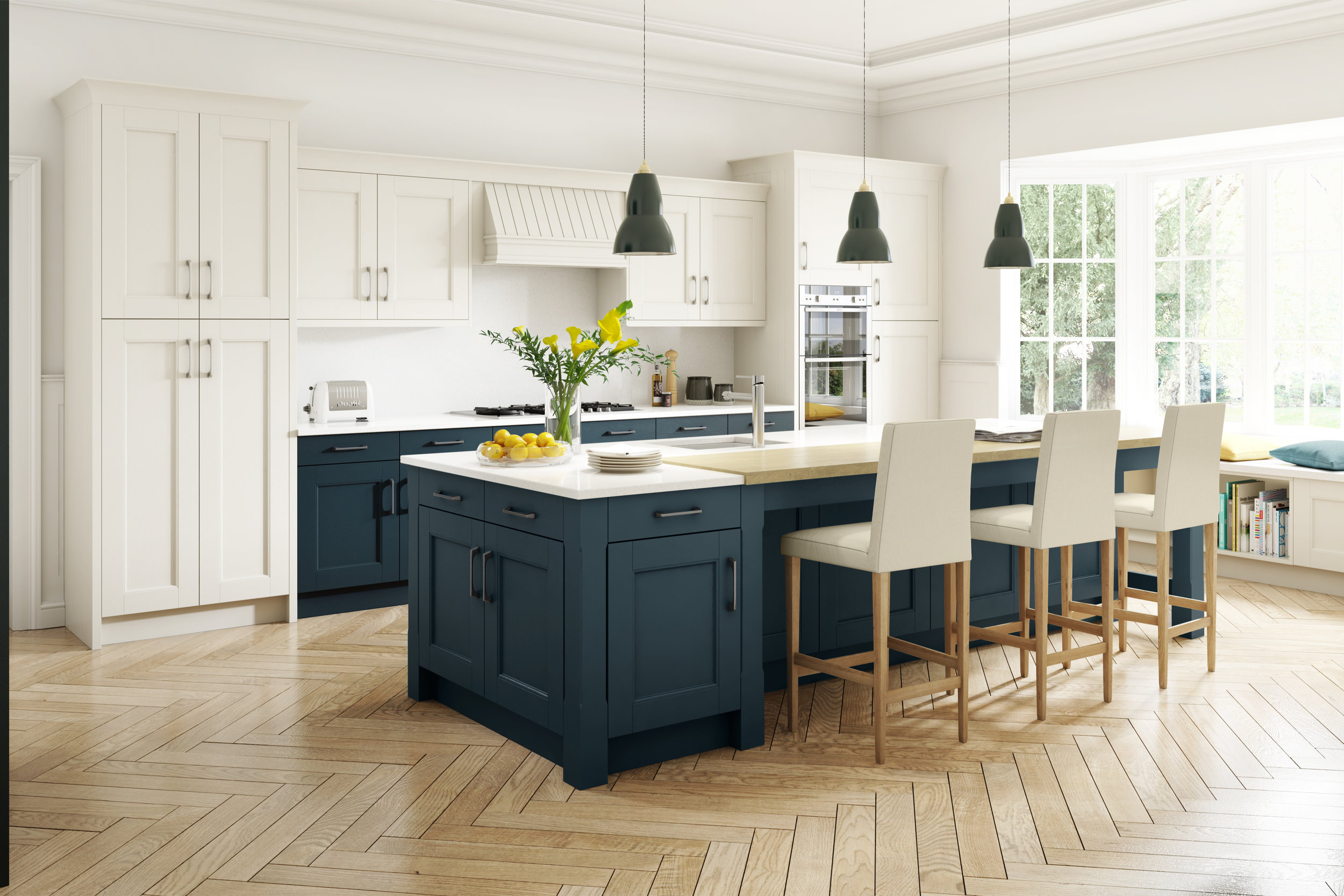 Stately Shaker Painted Ivory & Oxford Blue.jpg