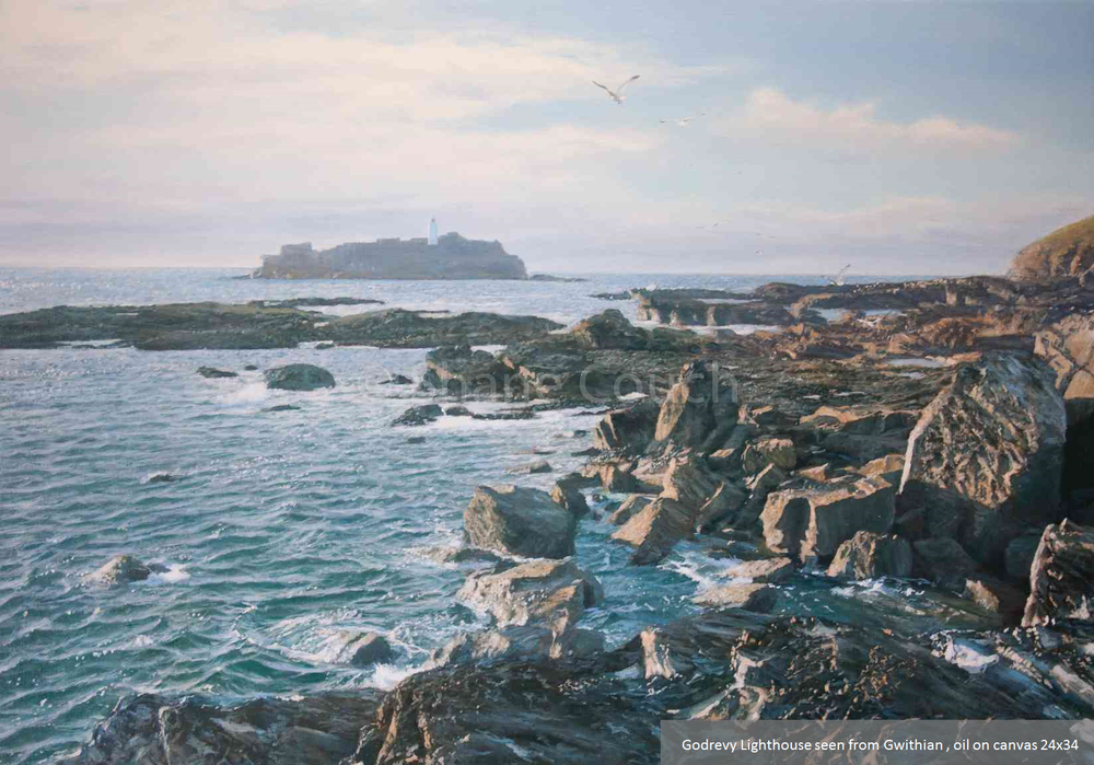 Godrevy Lighthouse seen from Gwithian, oil on canvas 24x34