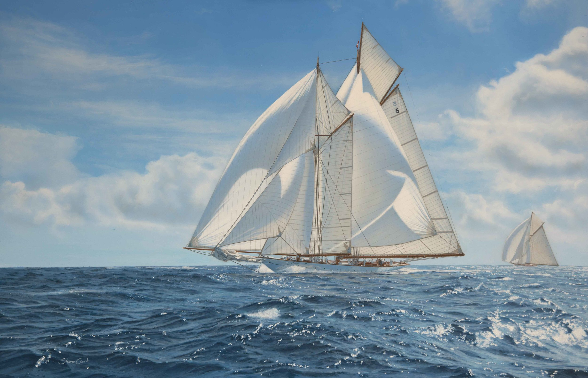 The Schooner Westward running downwind