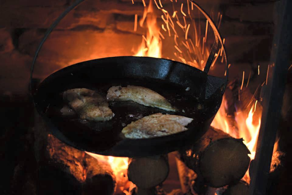 Above: Frying the fish