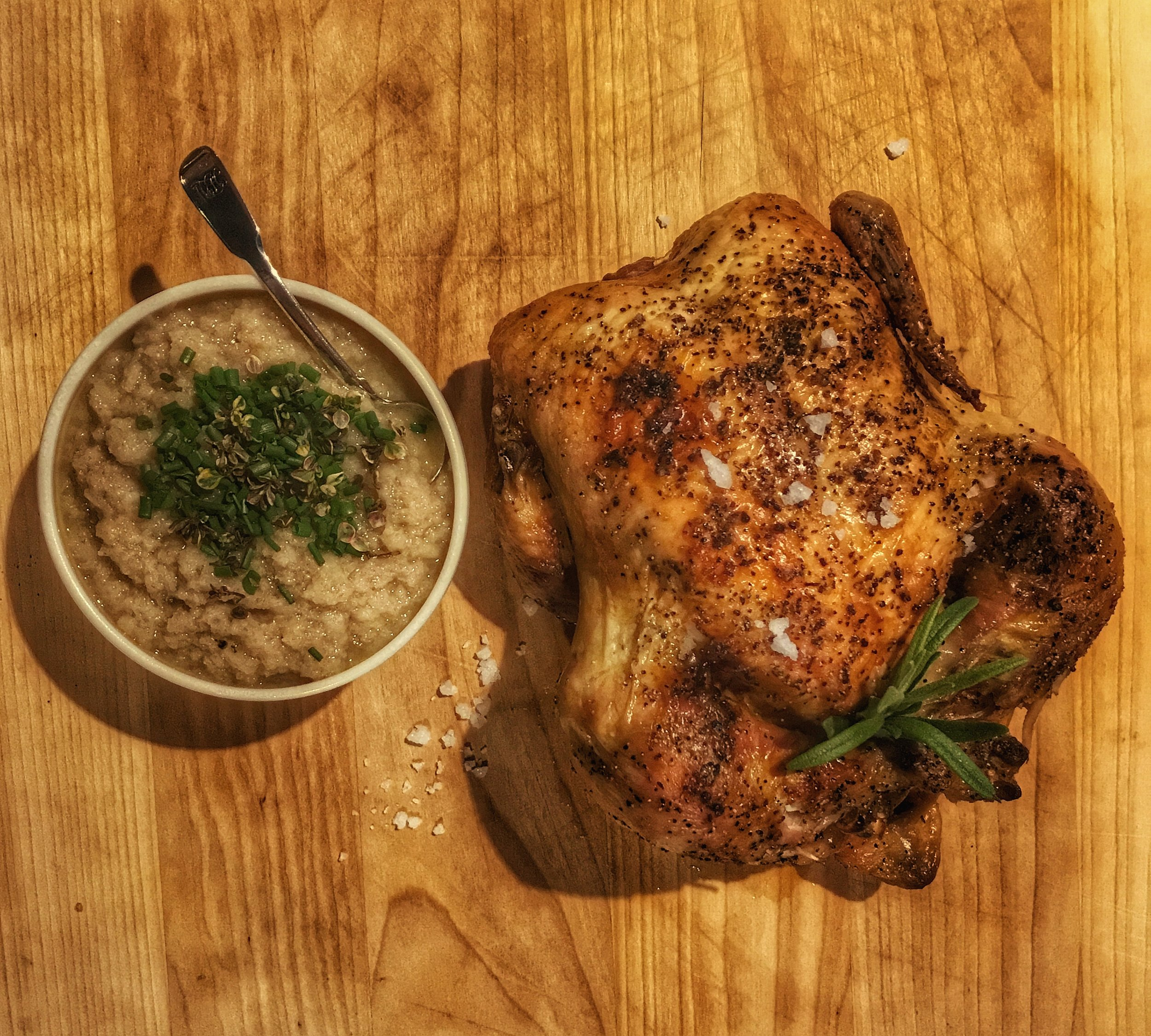 Whole roasted chicken with bread sauce. As with many 17th century recipes, the sauce tastes a whole lot better than it looks.