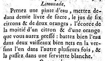 A recipe for limonade from  The French Confectioner  (1660)