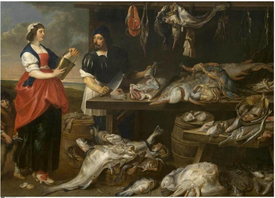 The Fish Monger's Stall , Adriaen van Utrecht