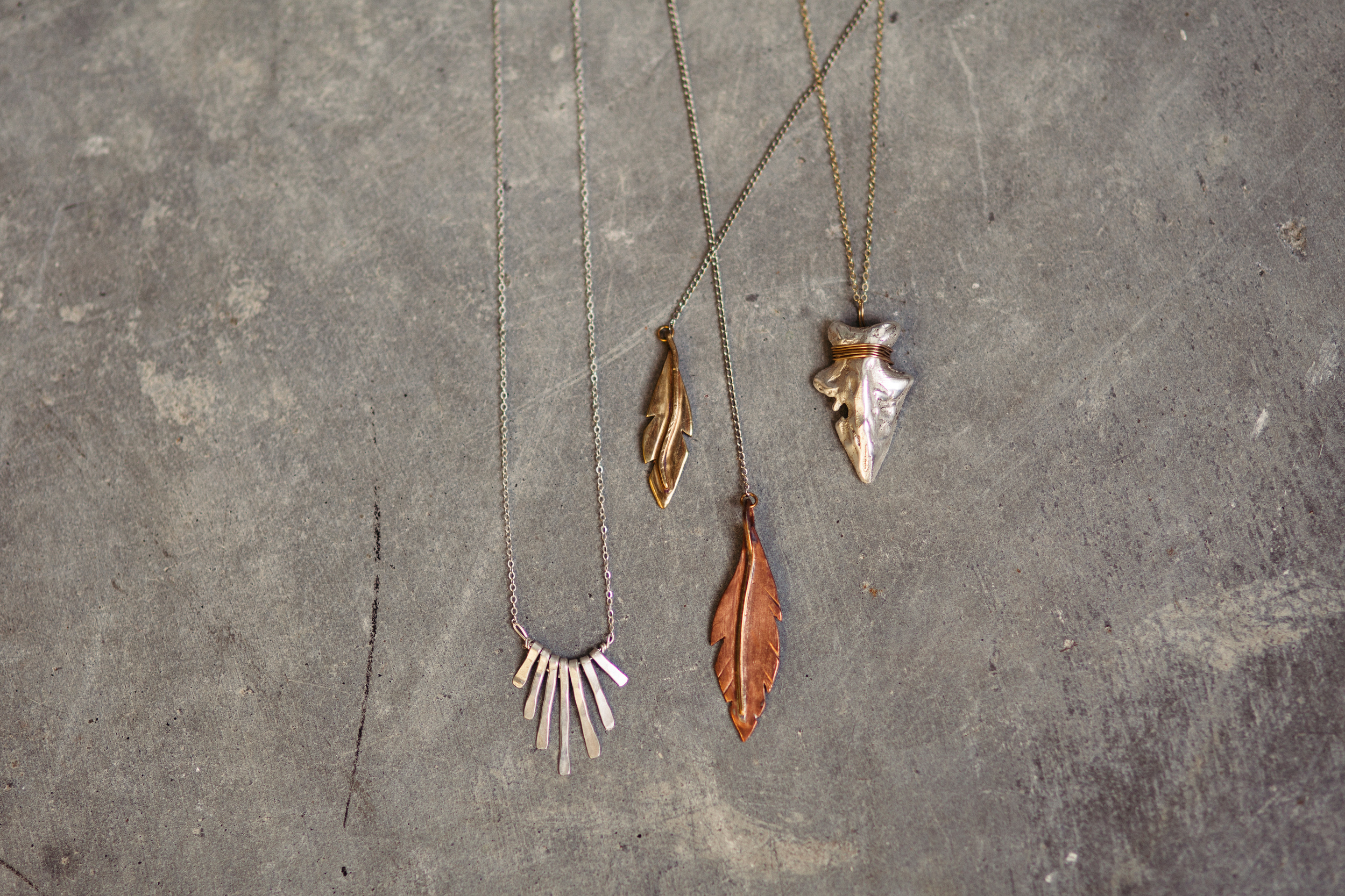 silver fringe necklace, feather lariat necklace, silver arrowhead necklace