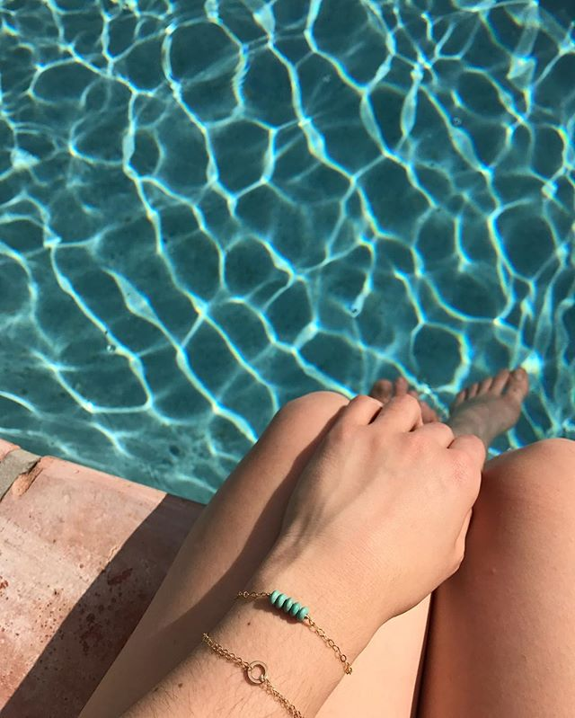 Rainy and grey day today in Atlanta has me wishing I was still poolside in Florida . . . . . . . . . . . #stoneandarrow #floridawinter #handmade #shoplocal #atlantamaker #minimalistjewelry #bracelets #turquoise #goldfill