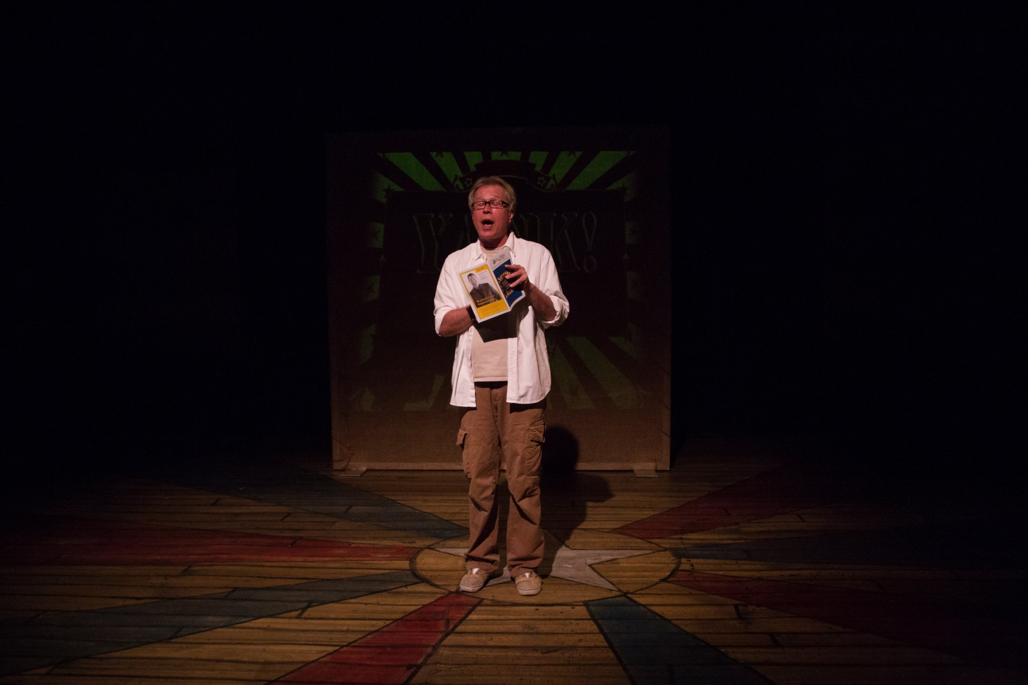 Schwamberger onstage in YANK! The Musical