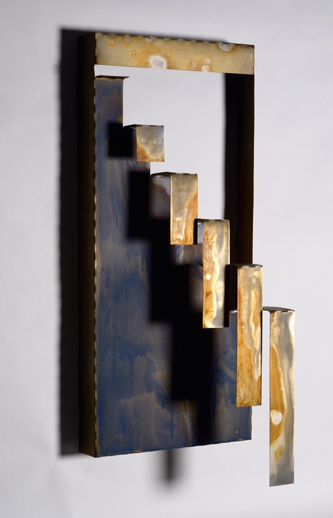 Metal, oxidized with acrylic paint 12x26x7in