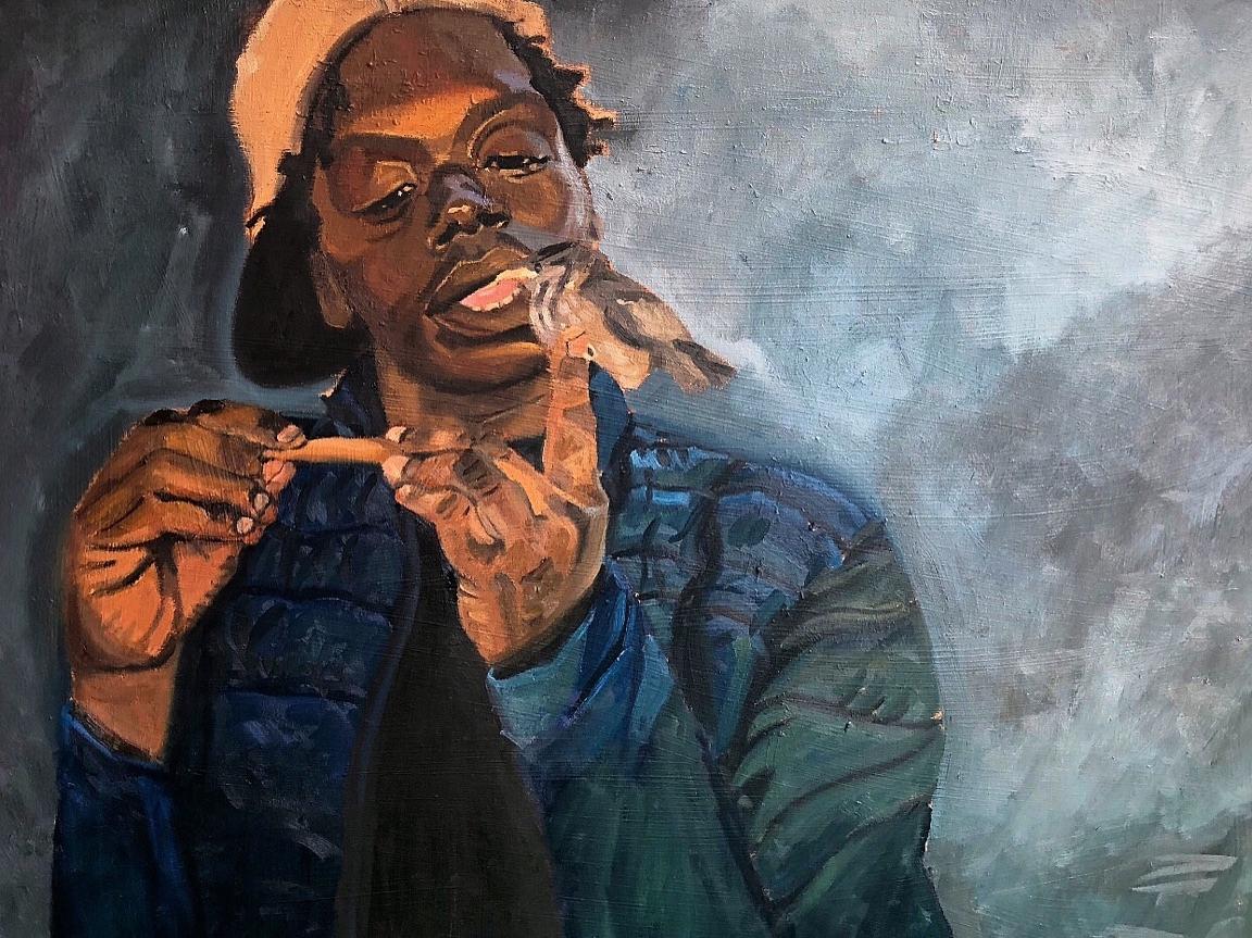 "The bird whisperer (El sussurador de pajaros)   40"" x 30""  Oil on canvas  2018."