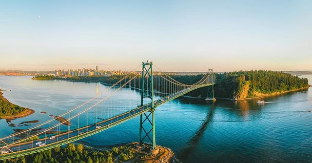 Amazing afternoon in Vancouver yesterday. Anyone else driven over this bad boy? #hellobc #lionsgate #vancouver #phantom4 #pano #bridge #explorebc