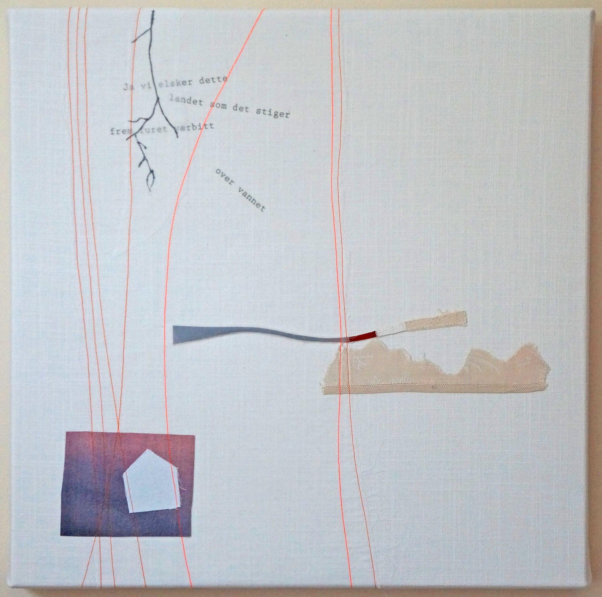Ja Vi Elsker -  17 x 17 inches, incorporating digital printing, ink drawing and pieces of discarded oil paintings, stretched