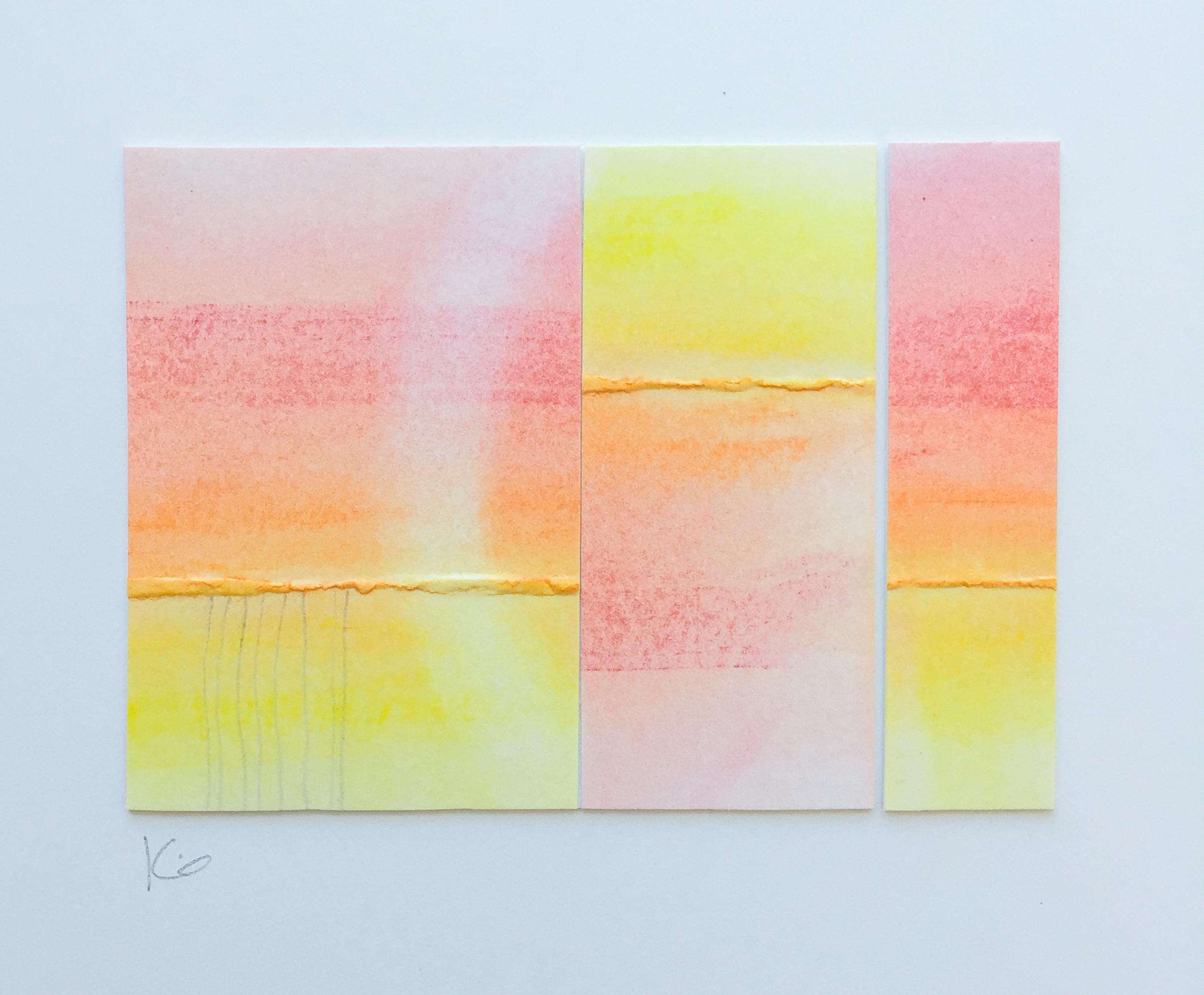 Sunset.  Collaged folded bristol, pastels, pencil. 3.25 x 2.25 inches on 9 x 12 inch bristol. 2016. Karen Anne Glick