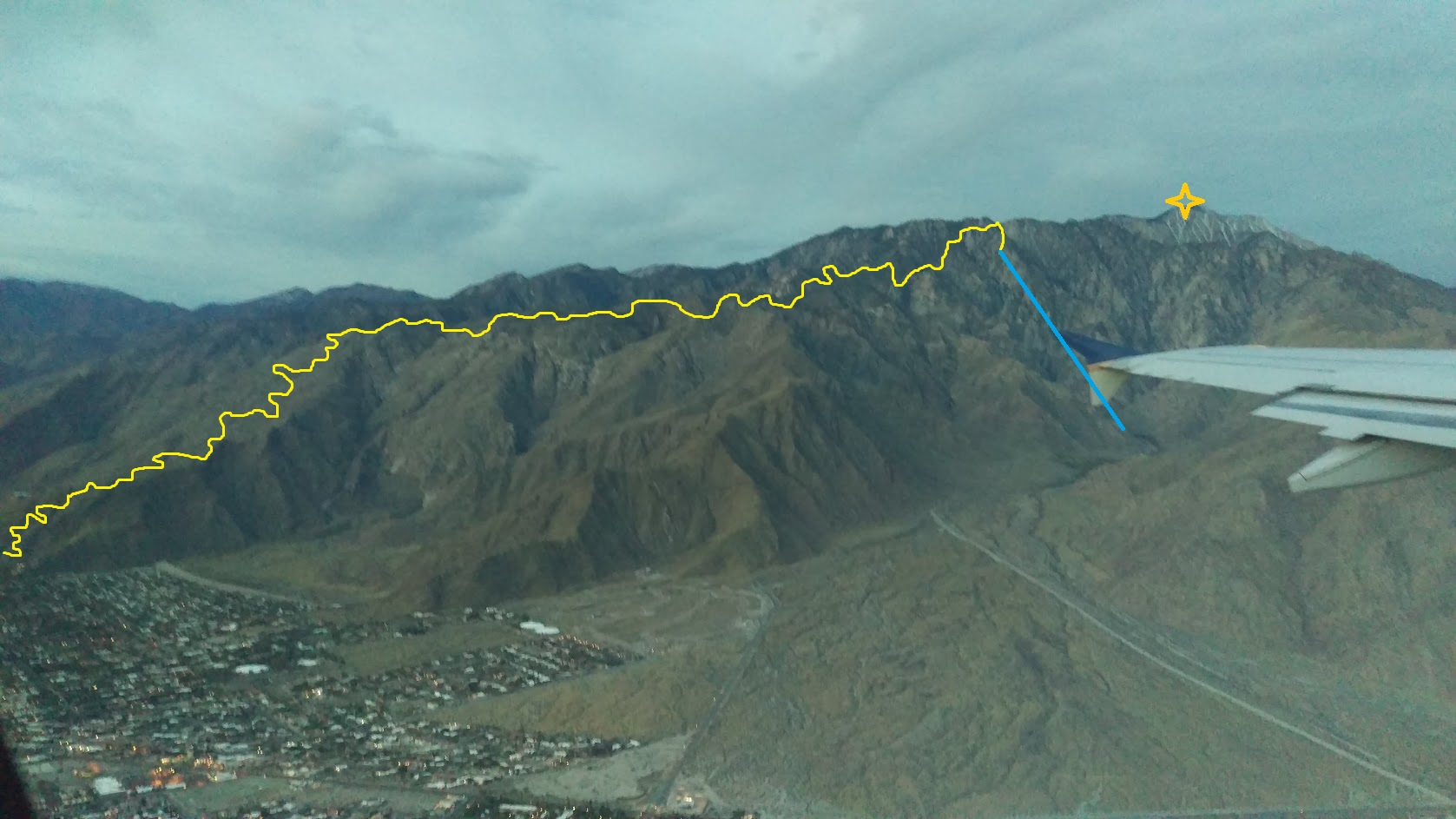 Cactus to Clouds Trail, Palm Springs, CA.  Forced to stop a couple thousand feet short but we'll get it sometime soon.  (Aerial Tram back down in blue)  Pick any spot on the line and pure bliss!