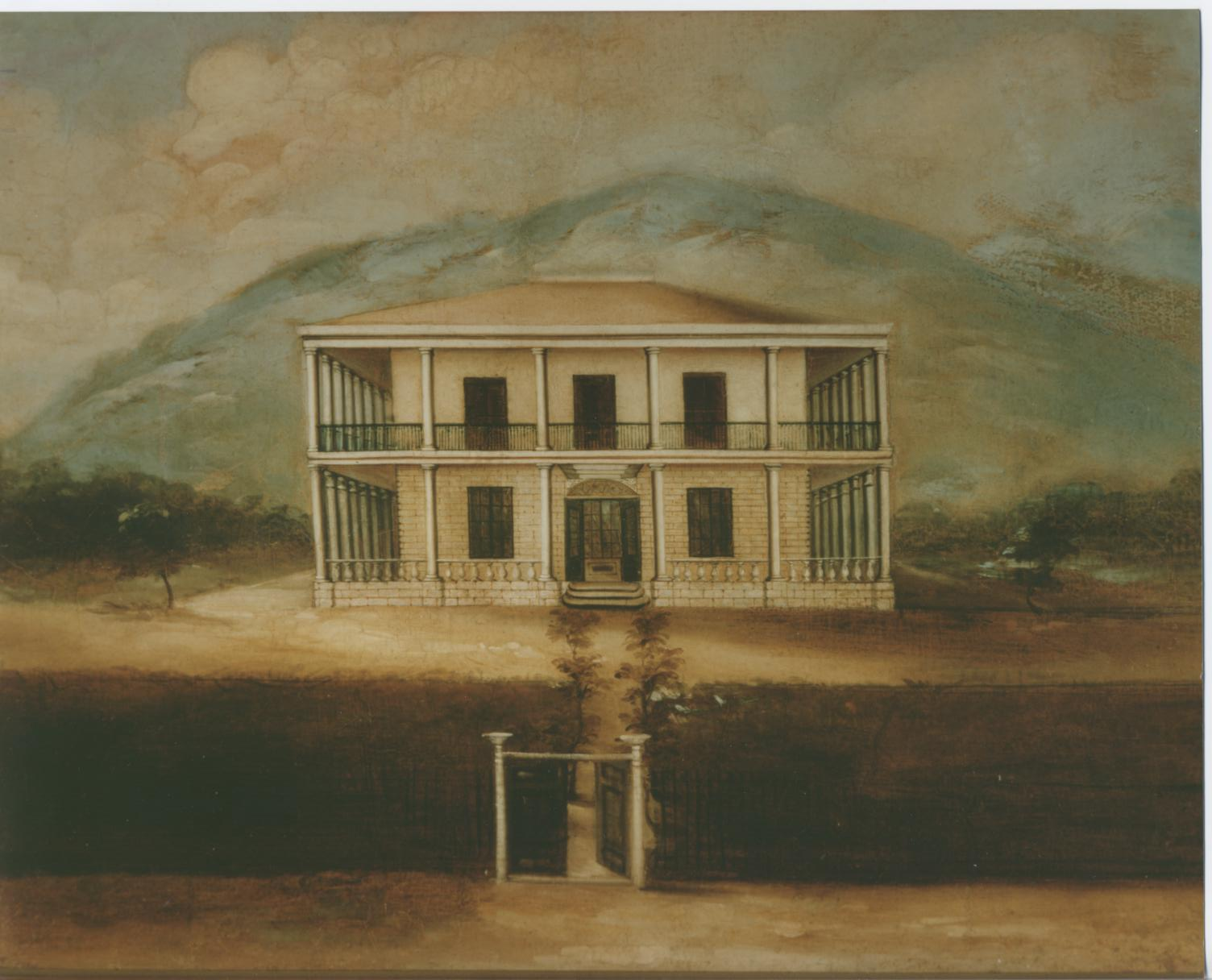 Washington Place, Honolulu. Oil on paper by an anonymous artist ca. 1850-1854.   Bishop Museum