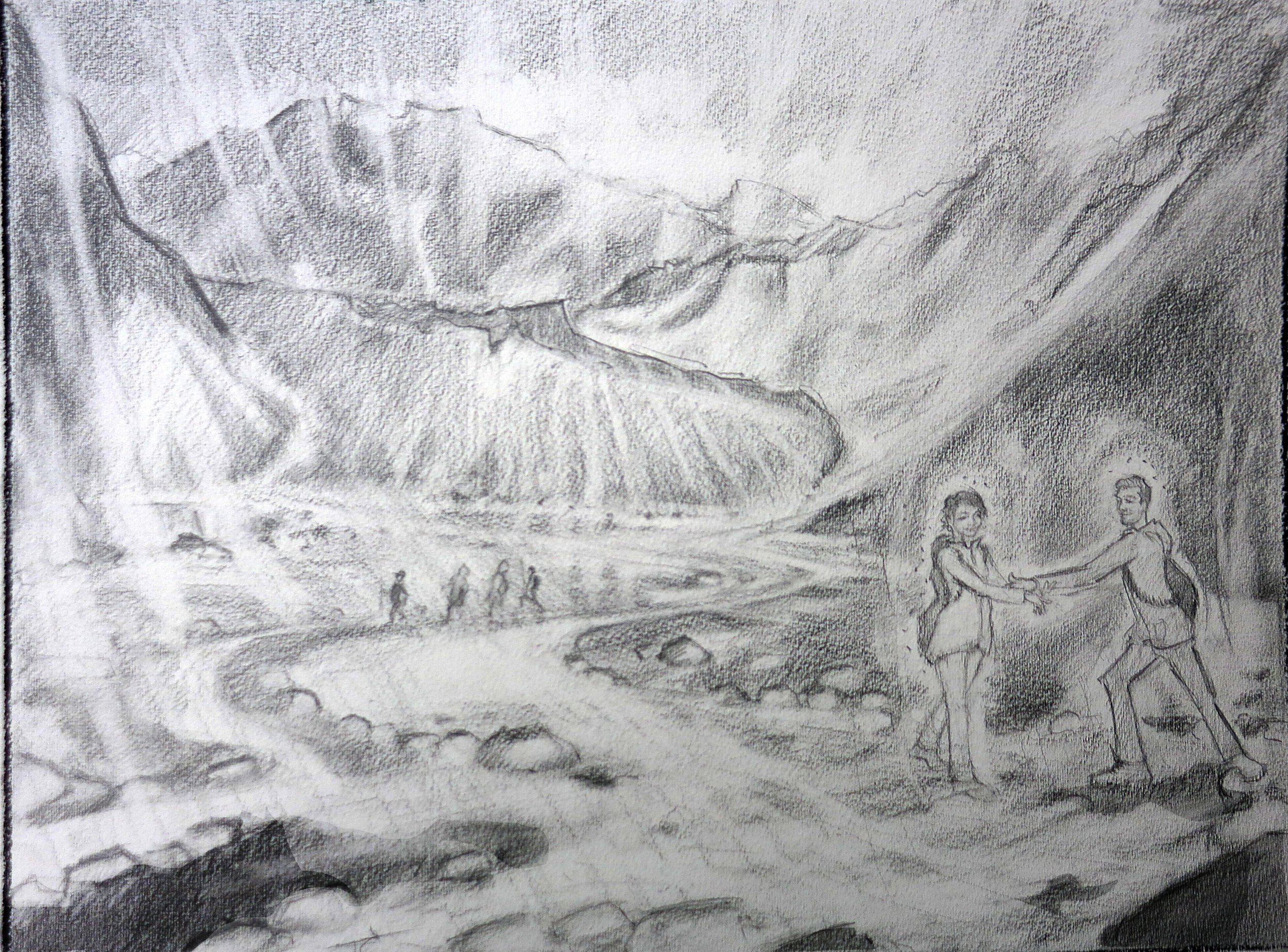Justin C. adjusted the initial sketch because Deepika wanted to show her husband helping her cross the stream.