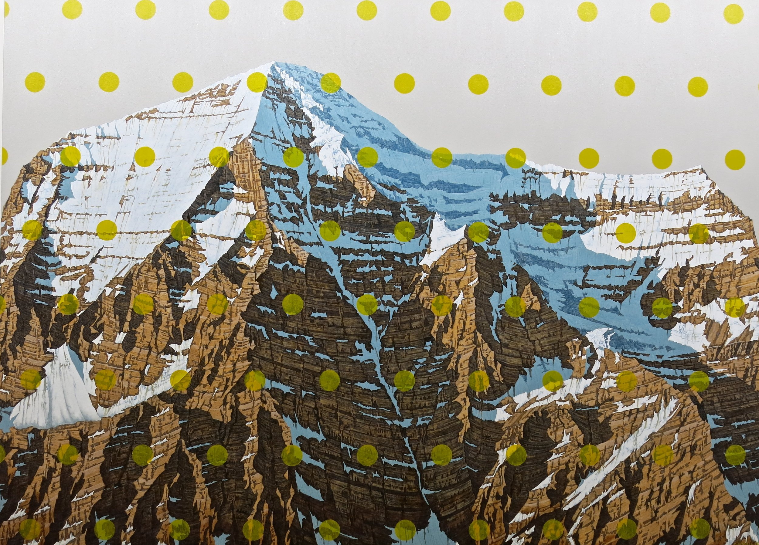 CoCo Artist David P. depicts Mt. Rainier in a realistic way, but overlaid with pop-art dots.