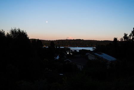 A view of Mount Rainier from the porch at sunset