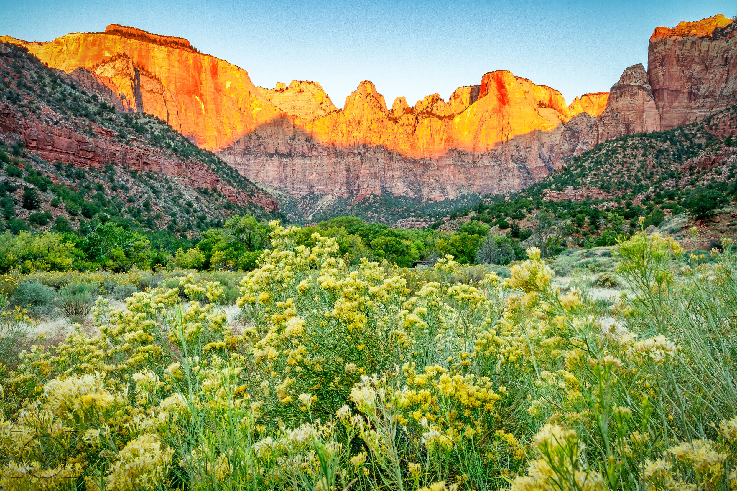 Sunrise at the Shrine of the Ages - Zion National Park