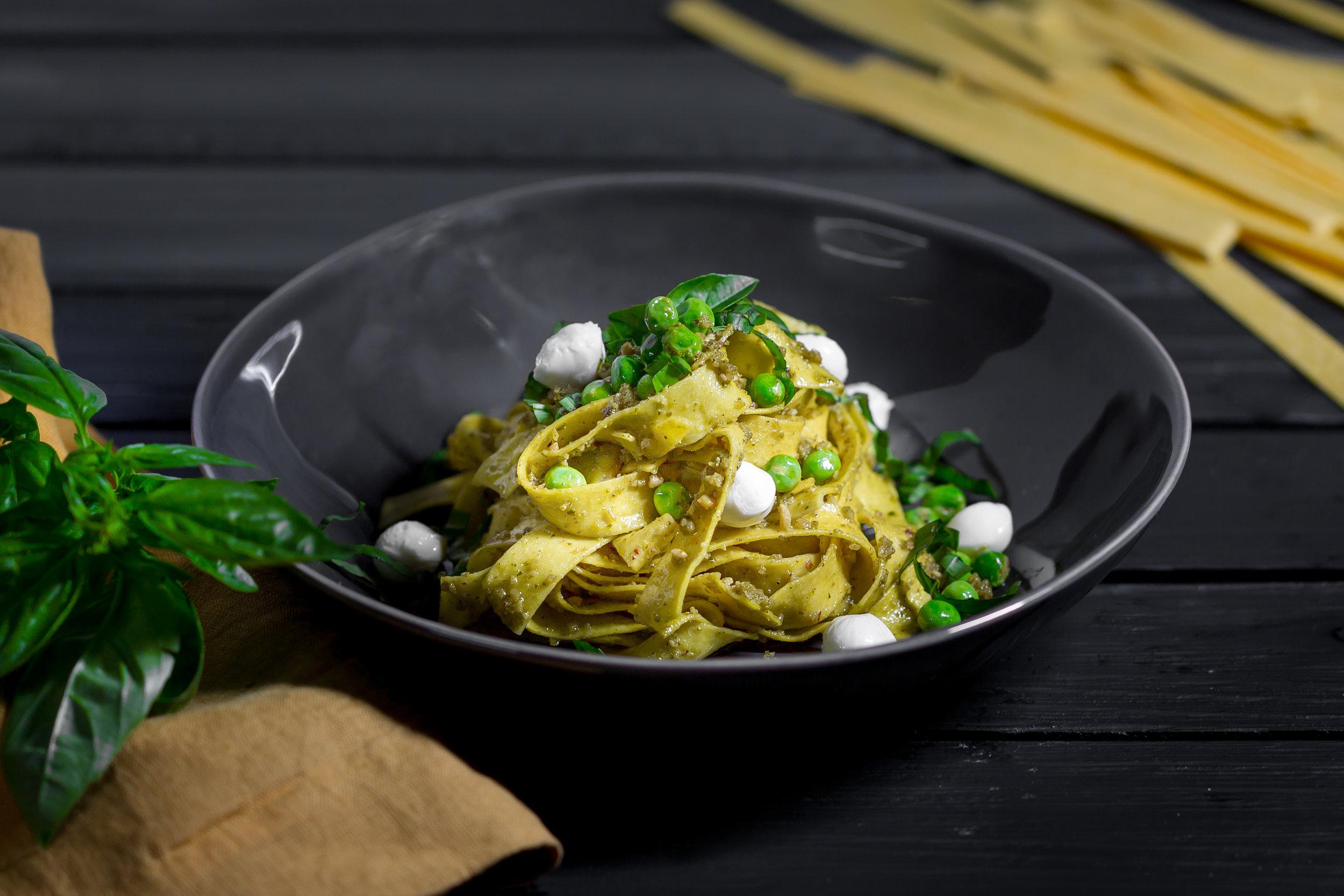 Pesto Fettuccini with Peas and Celigine -