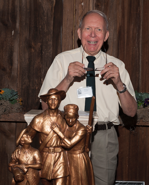 Don Cooper, Friends president and a member of the executive committee of the Patriot Project, with a replica of the Revolutionary War memorial sculpture, commissioned by that group.The sculpture was installed at the Loudoun County Courthouse grounds on Veterans Day, November 11, 2015.
