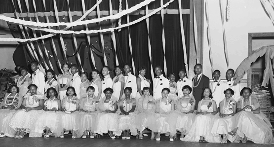 Ten years later: The graduation class of Douglass High School, Leesburg, VA, circa 1950.