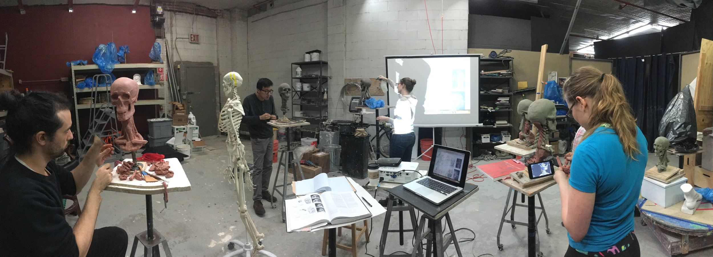 Students in Ecorche Boot Camp at the Grand Central Atelier. We use a combination of references from life, artistic anatomy books, and 3d apps. 2017.