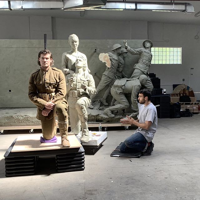 Started work with @sabinhowardsculpture on the National WWI Memorial. We've got a great team of sculptors and models. @tracilslatton wrote an article about our first couple days in the studio. It gives a good look behind the scenes. We're making progress quickly! More soon... Link in bio.  #sculpt #fineart #classicalart #contemporarysculpture #figuresculpture #process #fromlife #sculpturestudio