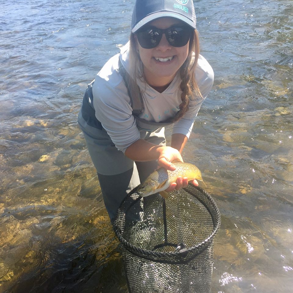 Erin Gallimore - Anglher Ambassador Since 2016Meet Erin. She first touched a fly rod in the101 class in September 2016. She since then has taken the 201, gone on two hosted trips and fished with Anglher a handful of times. It thrills us beyond our highest of rights to watch this woman rigging her own rod, hook setting and netting her own fish (and taking a selfie) confidently on the water.