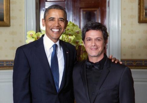 Alejandro Sanz con Barack Obama en la Casa Blanca