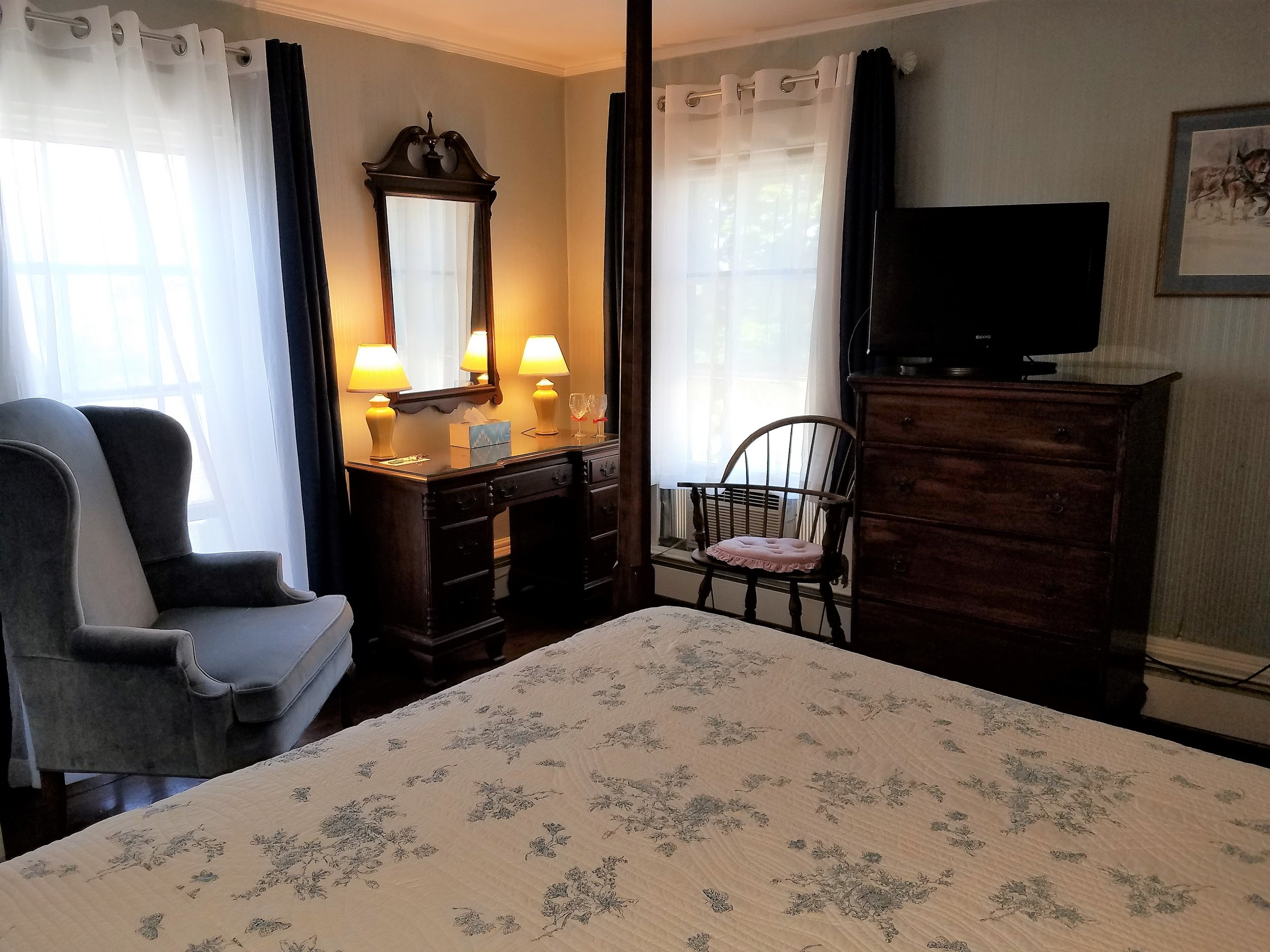 Blue Room with Queen Bed and blackout curtains for late sleepers -  BOOK IT
