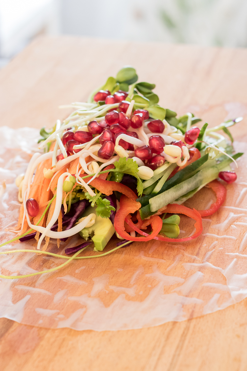 Simple salad with peanut butter sauce