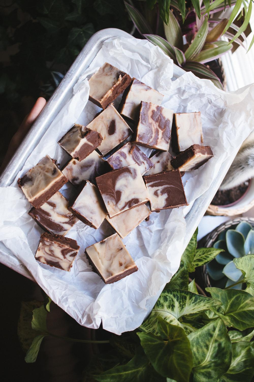 Vegan Chocolate & Dulce de Leche Fudge