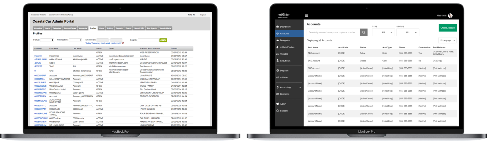 Sample: Admin Portal Accounts default layout. (Old design vs. redesign wireframes)