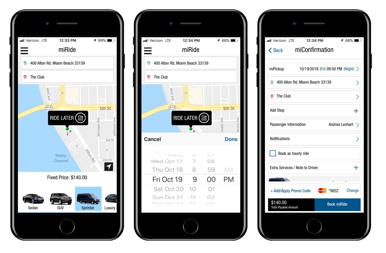 Hourly Reservation Flow (part 1/3): User enters pickup and drop-off locations, selects vehicle, chooses date and time and is taken to the summary screen.