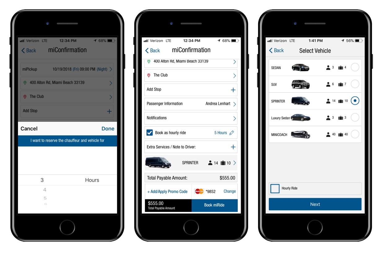 Hourly Reservation Flow (part 2/3): User selects the hourly option, which triggers a picker for the number of hours (displaying the minimum number of hours for the selected vehicle). Once selected, the price updates in real-time. User then taps on the vehicle selector (which displays the passenger and luggage capacity) and reviews other options.