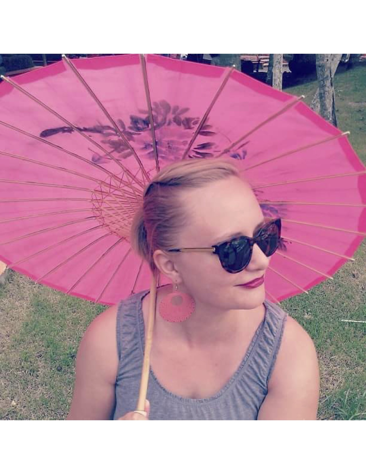 Krista with said Parasol used in mugging attack
