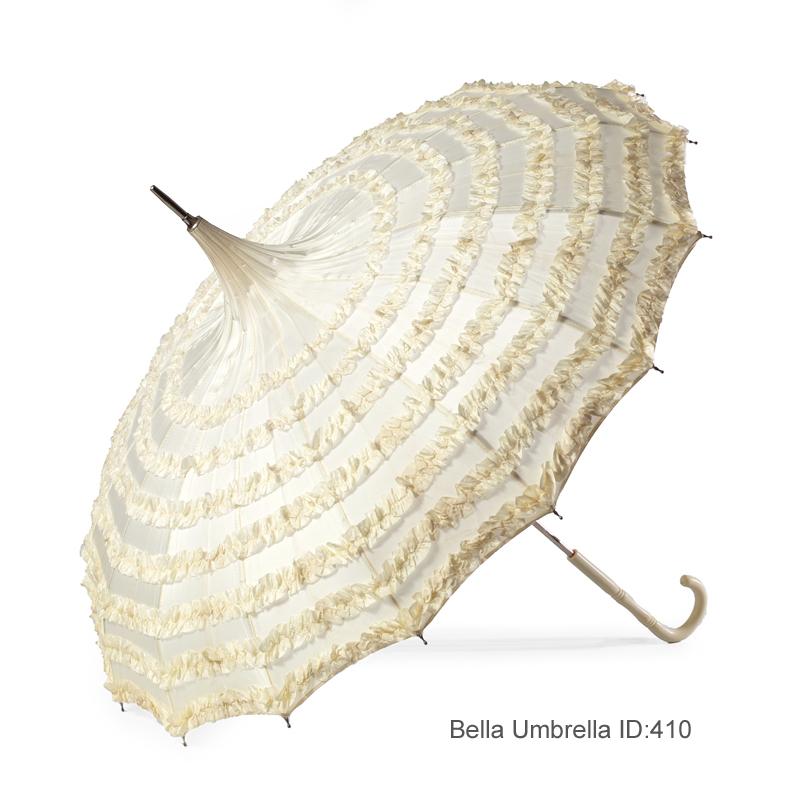 110ffae672c76 Umbrella ID 410 | Seven Layer Ivory Ruffled Pagoda Umbrella | Bella Umbrella  | Vintage Umbrella