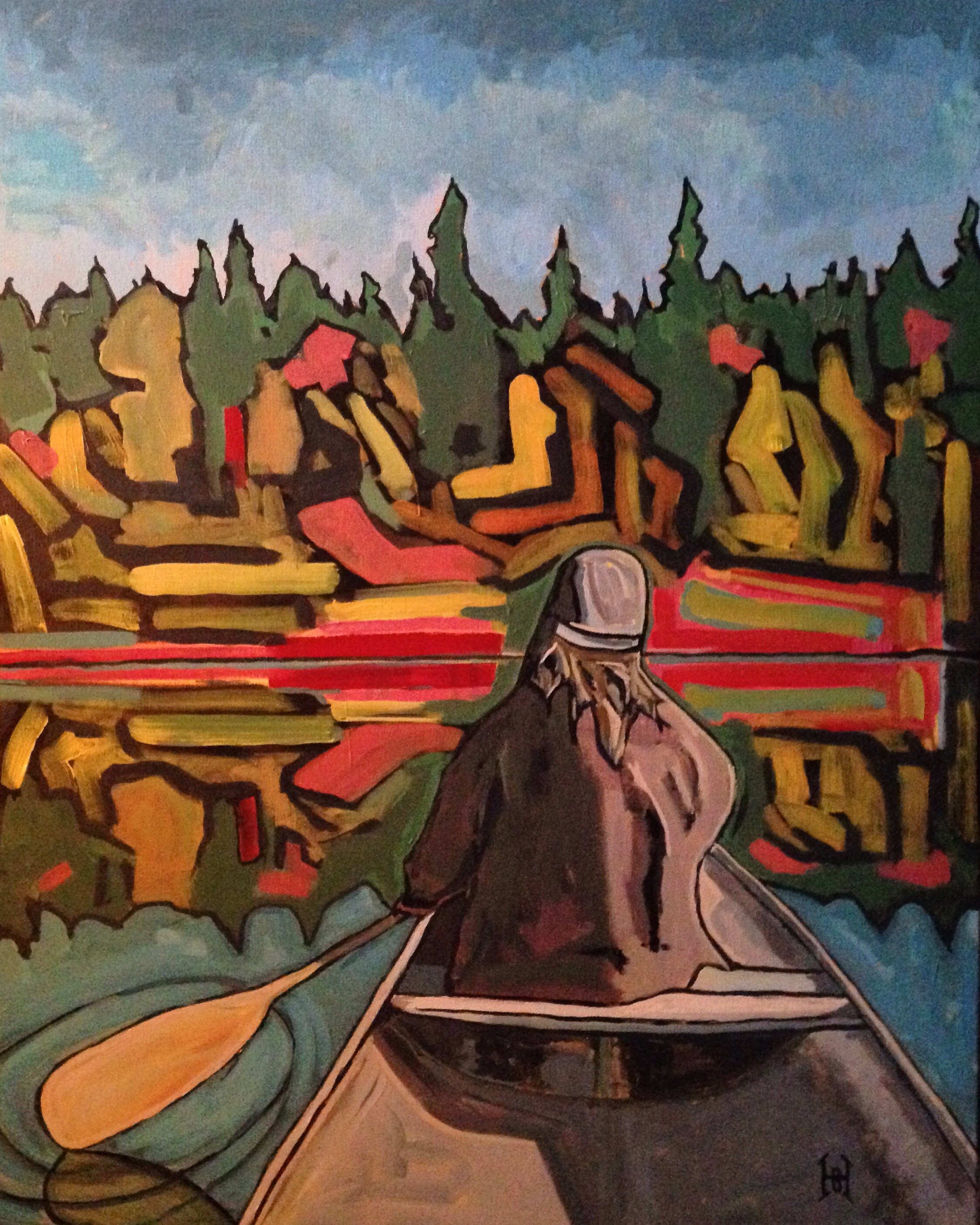 """Fall canoe, singing old spirituals"""