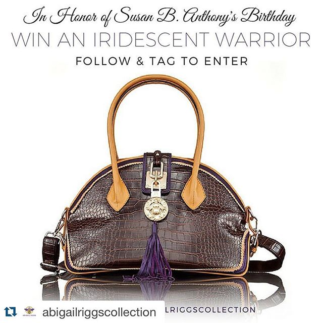 """We're excited to have organized this client's #instagramcontest --  check it out! #Repost @abigailriggscollection ・・・ The traveling champion of the women's rights movement, Susan B. Anthony, was recognized by two trademarks: her red shawl and her Alligator """"Purse."""" You can see the famous alligator bag she carried across the United States and to Europe when you visit the @susanbhouse at 17 Madison Street in #Rochester, NY.  In honor of Susan B. Anthony's Birthday on February 15th, @abigailriggscollection is giving you and your friends a chance to WIN an Iridescent Warrior and own an Alligator Purse of your own! #LadyWithTheAlligatorPurse #BeWithPurpose #ARC #Contest #HappyBirthday #SBA #PurseWithAPurpose  HOW TO PARTICIPATE: 1.) Follow @AbigailRiggsCollection on Instagram 2.) Tag 2 friends in the comment section of this photo & tell us who your modern day Susan B. Anthony is! 👜 AbigailRiggs.com"""