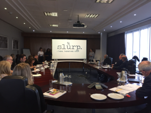Enactus Edinburgh pitching their project Slurp