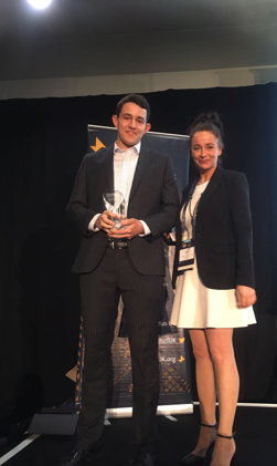 Chris, from Enactus Sussex who is their CRE collecting the teams award!