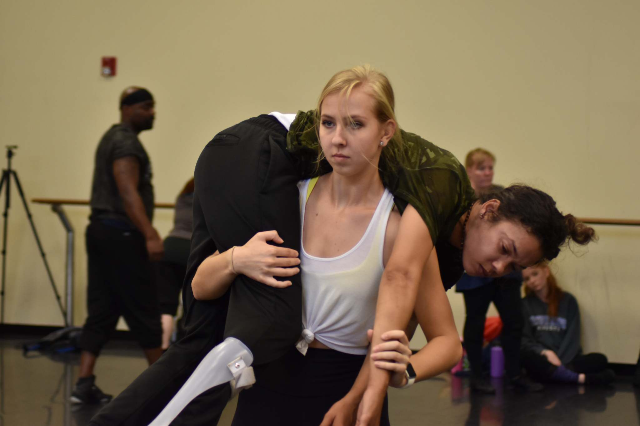 Army Veteran Kay Thornhill and Tampa Civilian dancer Samantha Kedziora during the June DIAVOLO Veterans Project Residency.