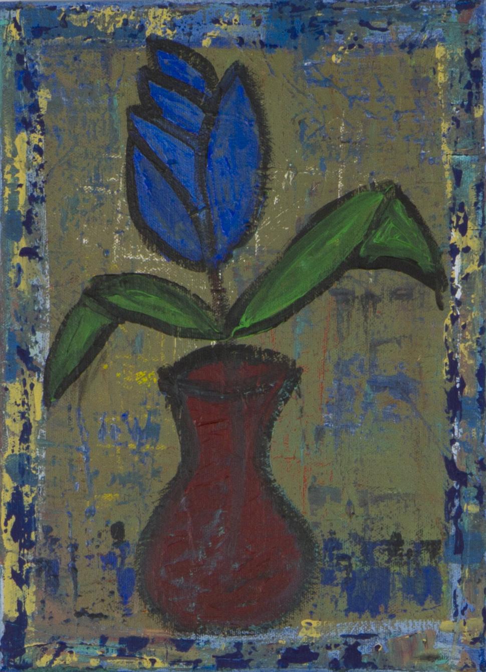 Flower in Red Vase