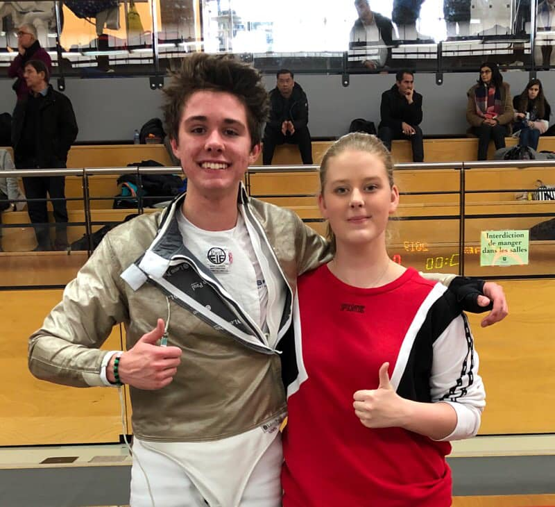 Pictured: Peter Hammer and Sophie Cannon attending their first Cadet International tournament in France