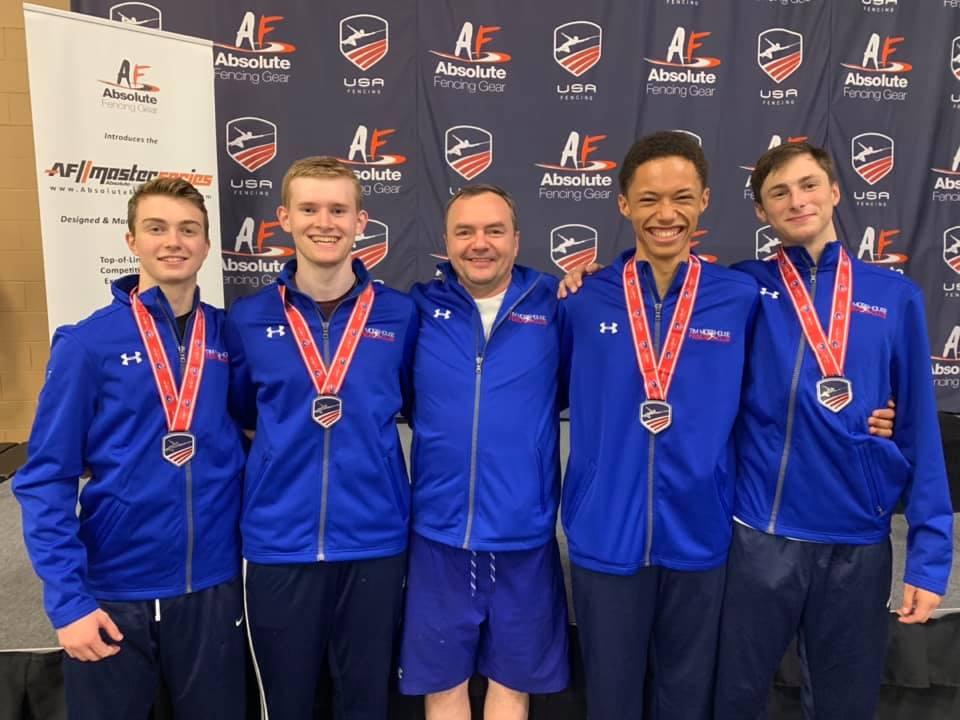 Pictured: TMFC fencers win a Silver Medal in Senior Team Men's Foil