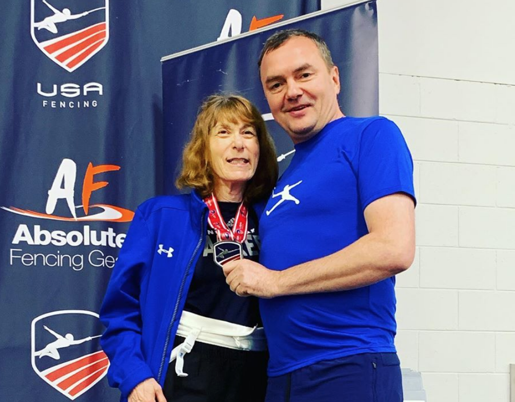 Madelon Rosenfeld (TMFC's first Veteran Team Member) with Coach Slava