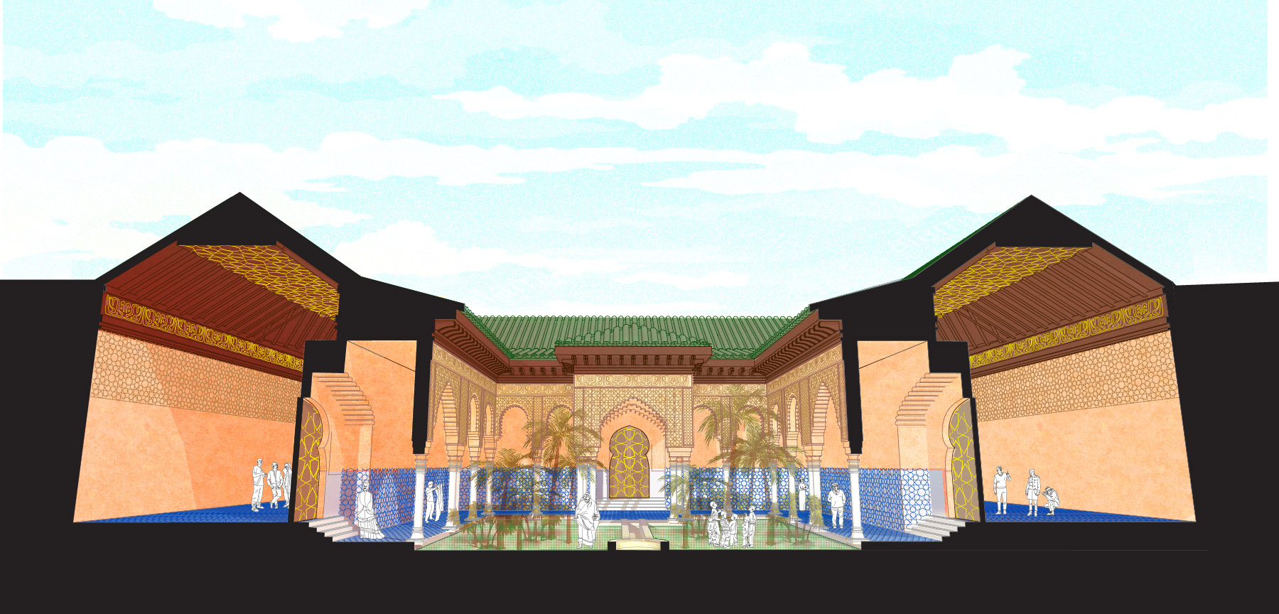 ELEMENTS OF MOORISH DESIGN: Ceramic, Stucco, Cedar in a Moroccan Palace
