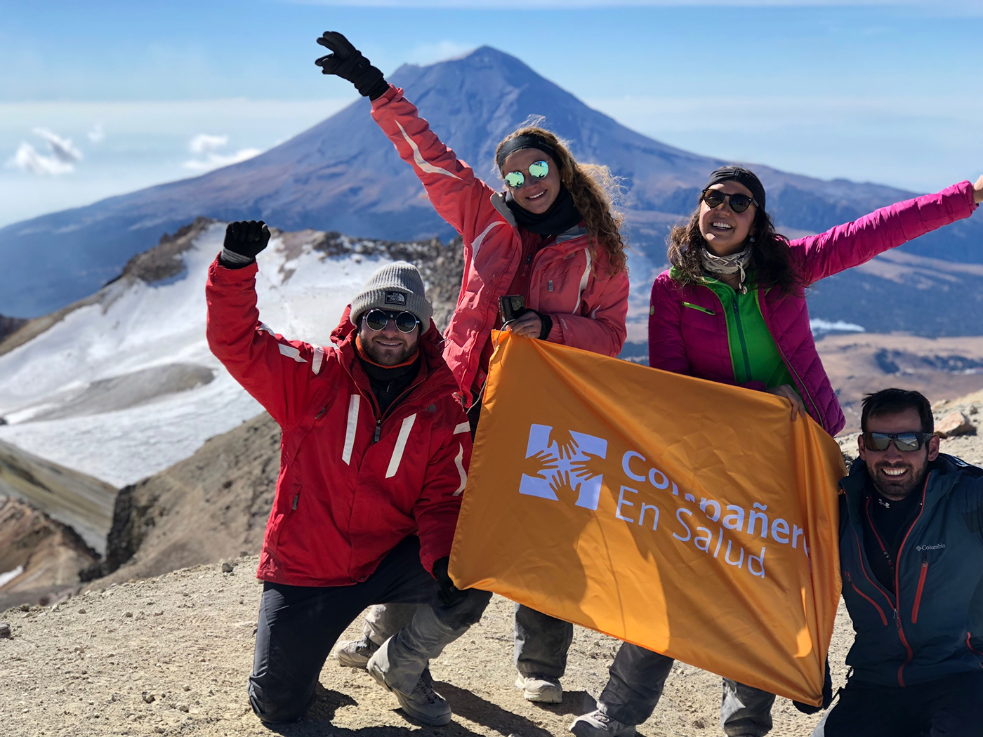 During  4 por México , a fundraising campaign to support the work of Compañeros En Salud, a team of four friends dedicated their willpower in each step of four summits in honor of the strength of will that each of our patients shows in their journey to ensure their right to health.   Photo: David Villarreal, Armando Garrido, Fernanda Velázquez and Ana María Galván reach the summit of Iztaccihuatl.    Read more