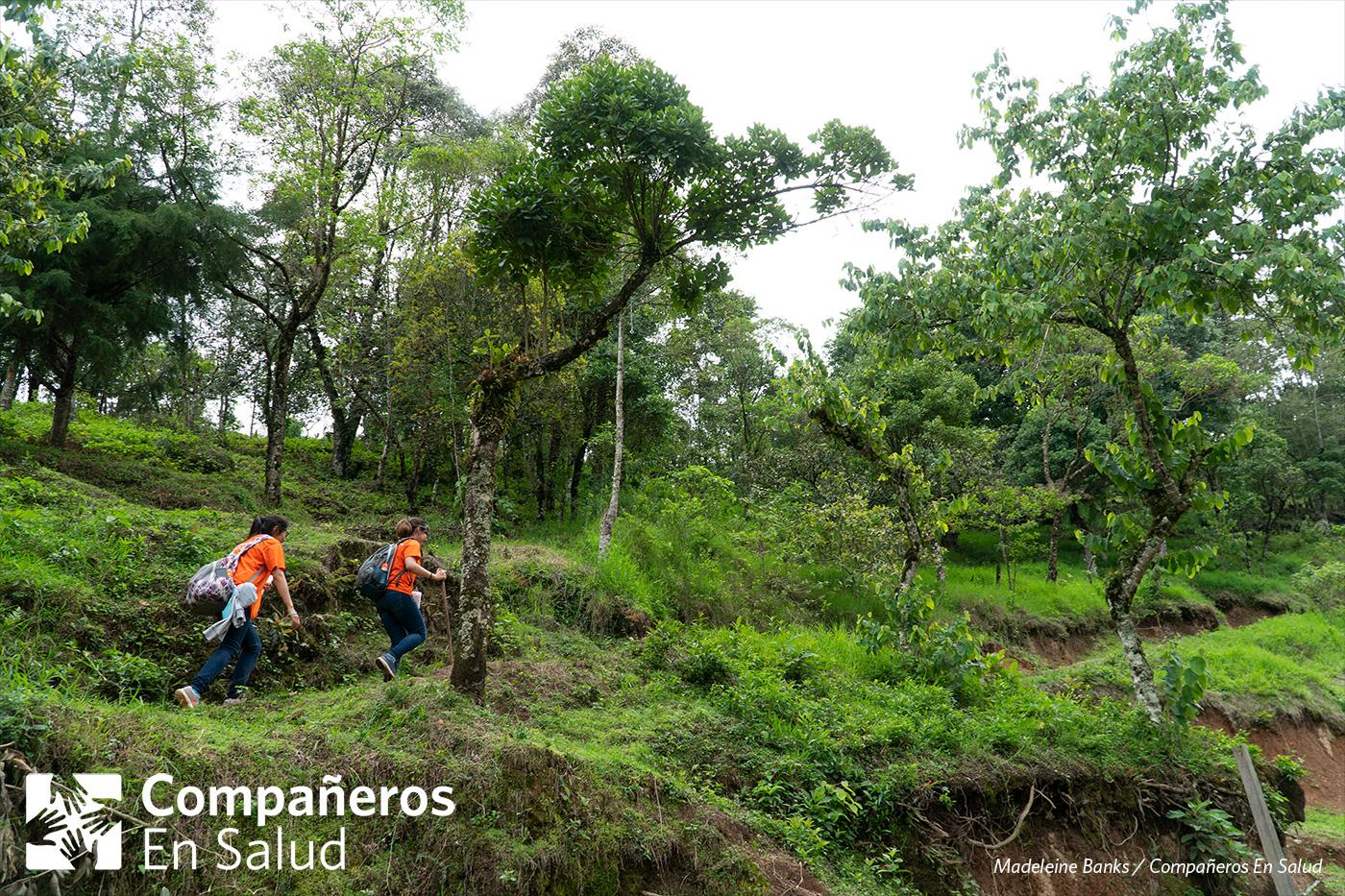 Los equipos visitan cada casa en la comunidad así como en sus alrededores.  Foto: Karen Gabriel López Salinas y Abril, estudiantes de medicina, suben a una colina en busca de casas para realizar encuestas de salud.