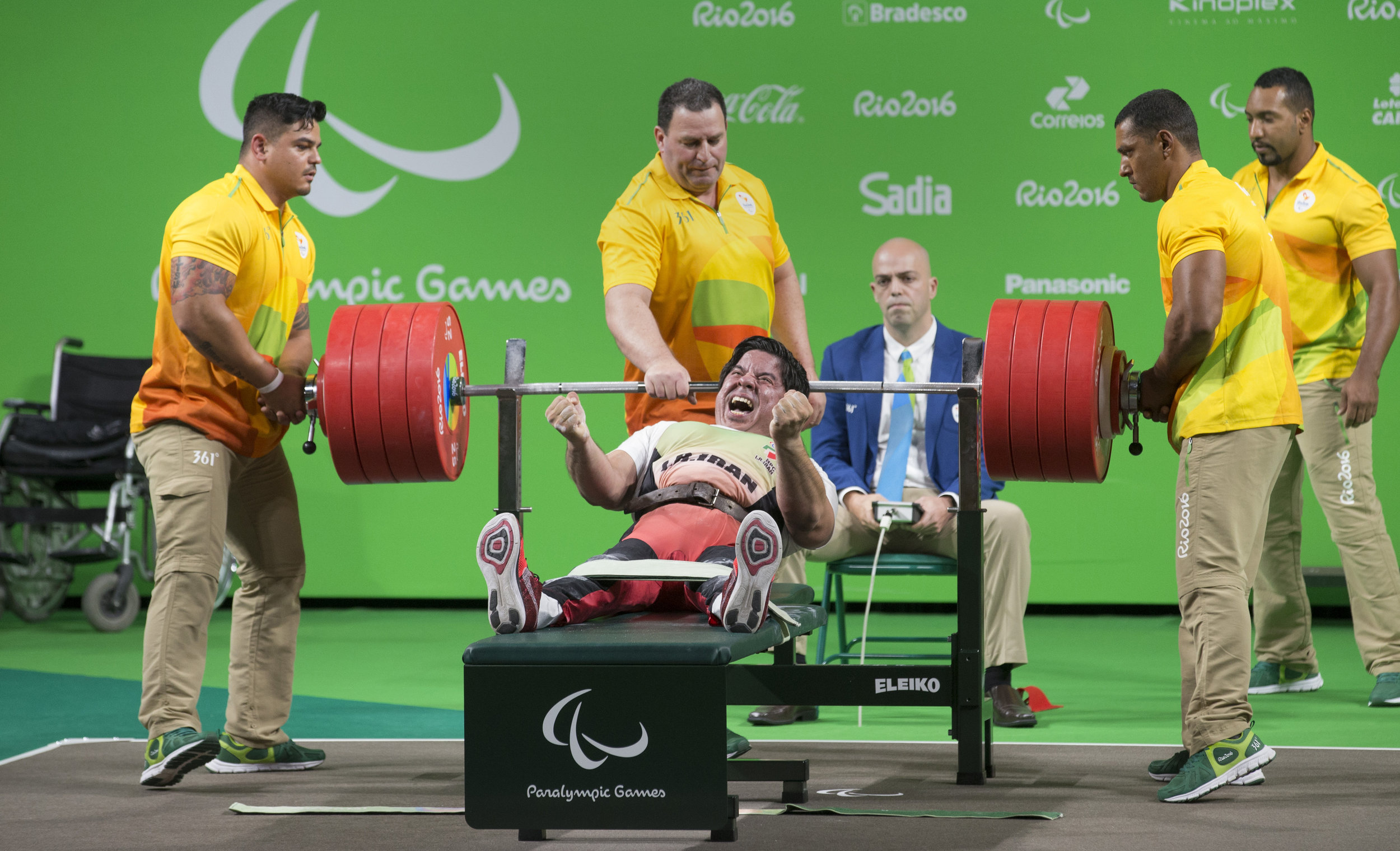 Majid Farzim, of Iran, celebrates after breaking the Paralympic and world records in the 80 kg class at the 2016 Paralympic Games in Rio de Janeiro on Monday, Sept. 12, 2016. The 2012 Paralympic gold medalist lifted 240 kgs to beat the existing record and win gold again.