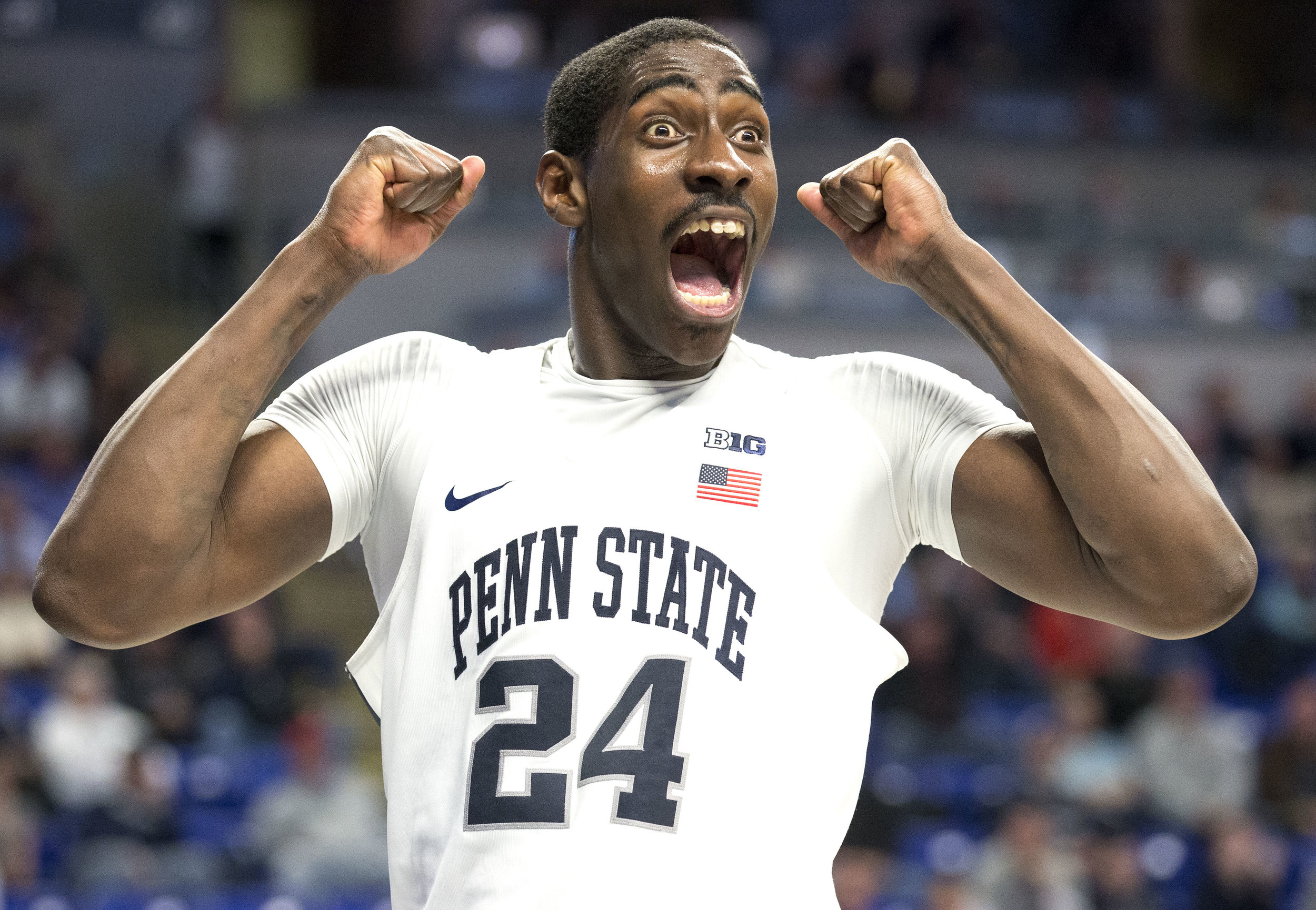 Mike Watkins (24) reacts after a foul call during the men's basketball game against Maryland at the Bryce Jordan Center on Tuesday, Feb. 7, 2017. Penn State defeated Maryland 70-64.